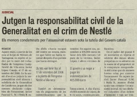 Juzgan la responsabilidad civil de la Generalitat en un crimen