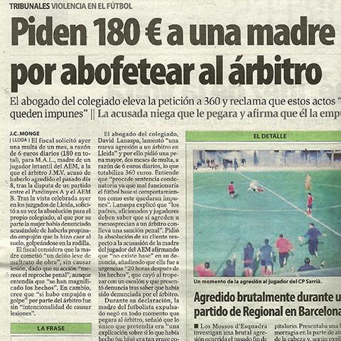 Piden 180€ a una madre por abofetear al árbitro