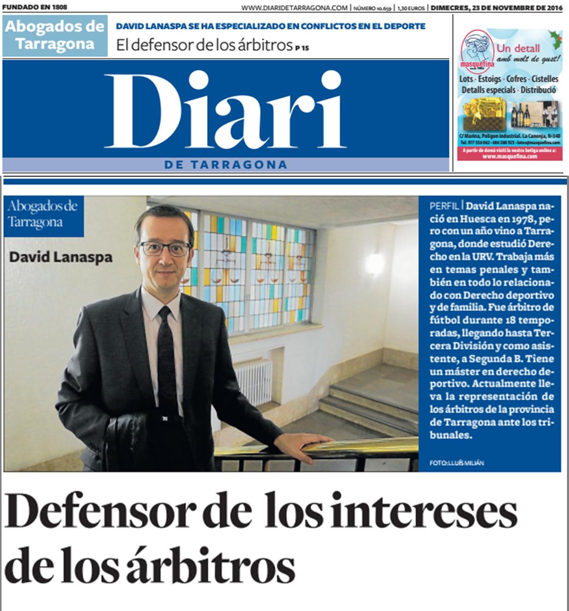 David Lanaspa abogado de Tarragona es defensor de los intereses de los arbitros