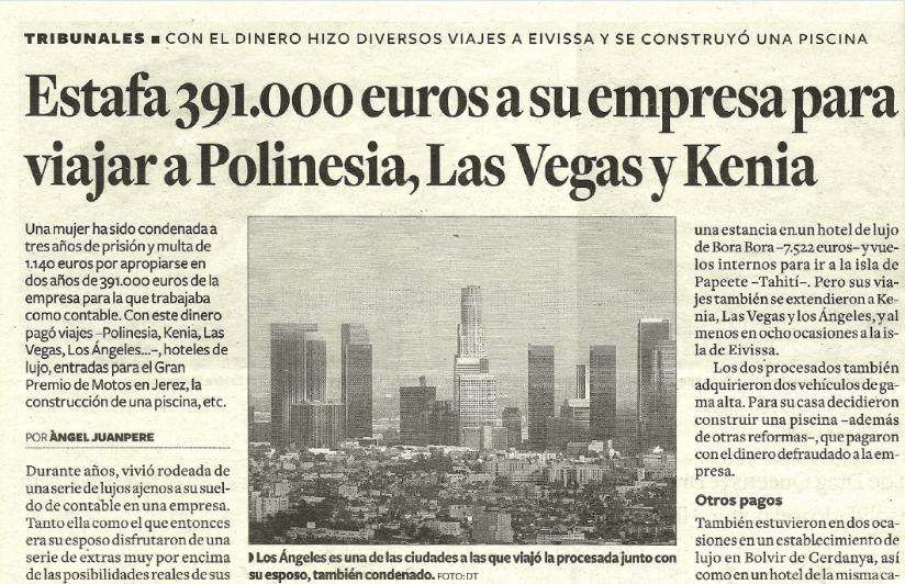 Estafa 391.000€ a su empresa para viajar